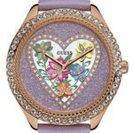 Guess Violet Purple Leather Strap Analog Watch - W0908L1