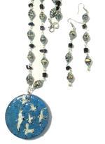 B-The Label Blue & Black Handpainted Necklace & Earrings Set (B-06)