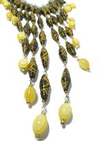 B-The Label Yellow & Brown Handpainted Necklace & Earrings Set (B-07)