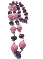 B-The Label Purple & Pink Beaded Long Necklace (B-15)