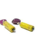 B-The Label Mustard Yellow & Purple Drop Earrings (B-24)