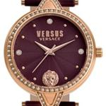 Versus V Vers Crys Burgundy Leather Strap Analog Watch - V WVSPCI4018