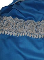 Inaayat Blue & Silver Embroidered Mixed Cashmere Stole (Sonblu28)