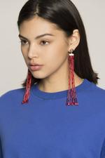 OwnTheLooks Red Beaded Tassel Earrings (998B)