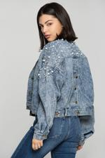 OwnTheLooks Blue Pearl Studded Denim Jacket (868B)
