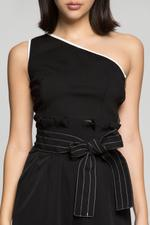OwnTheLooks Black Solid Asymmetrical Crop Top (795B)