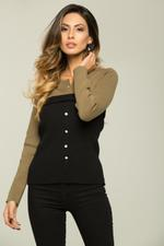 OwnTheLooks Olive Green and Black Button Up Sweater Top