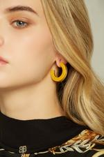 OwnTheLooks Yellow & Gold Resin Hoop Earrings (120C)