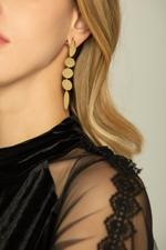 OwnTheLooks Gold Oval Tiered Plates Drop Earrings (115C)