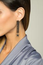 OwnTheLooks Black Star-Studded Drop Earrings (110C)