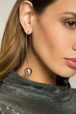 OwnTheLooks Silver-Toned Round Metallic Drop Earrings (109C)