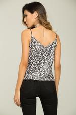 OwnTheLooks Black & White Cheetah Print Singlet Top (073C)