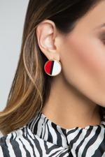 OwnTheLooks White Red Black Resin Round Stud Earrings