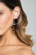 OwnTheLooks Black & Brown Tiger Print Drop Earrings (301C)
