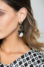 OwnTheLooks Gold-Toned & White Faux Pearl & Black Bow-Tie Drop Earrings (300C)