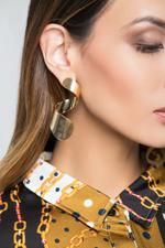 OwnTheLooks Gold Twisted Shell Drop Earrings (232C)