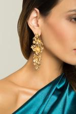 OwnTheLooks Gold-Toned Floral Drop Earrings (226C)