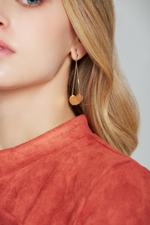 OwnTheLooks Gold Round Plates Tassel Earrings (231C)
