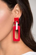 OwnTheLooks Red & White Rectangle Cut-Out Acrylic Earrings (413B)