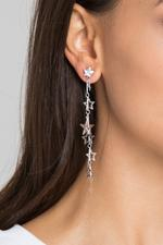OwnTheLooks Silver Star Cut-Out Dangling Earrings (464B)