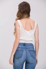 OwnTheLooks White Cropped Grommet Ring Tank Top (534A)