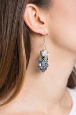 OwnTheLooks Blue & Silver Crystal Chandelier Earrings (469B)