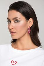 OwnTheLooks Red Diamond-Shaped Stone-Studded Tiered Earrings (493B)