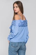 OwnTheLooks Blue Pin Striped Cold Shoulder Tie Bandeau Top (363B)