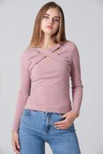OwnTheLooks Pink Cross Body Sleeved Top