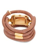 Christina Design London Swiss Assemble Collect Watch for Women with attached itaian Leather Cord with geniune gemstone Charms-143 GWW BROWN