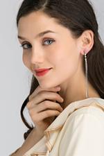 OwnTheLooks Silver-Toned Three Stud Long Tassel Earrings (205B)