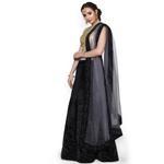 Pankhudii Black and Grey Velvet Semistitched Lehenga Set  (RHYTHM29)