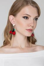 OwnTheLooks Gold & Red Cherry Drop Earrings (866A)