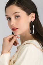 OwnTheLooks Black & White Checked Rectangular Cut-Out Drop Earrings (085B)