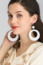 OwnTheLooks White O Cut-Out Drop Earrings (072B)