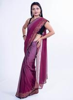 Pankhudii Maroon & Mauve Ombre Saree with Unstitched Blouse  (8408)