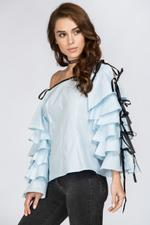 OwnTheLooks Blue Tiered Ruffle Sleeve Off Shoulder Top (220A)