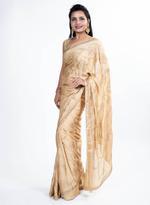 Pankhudii Beige Embellished Saree with Unstitched Blouse (8710)