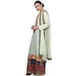 Pankhudii Pastel Green and Blue Embroidered Sharara Suit Set (RAAS54)