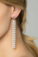 OwnTheLooks White & Gold Faux Pearl Waterfall Earrings (571B)