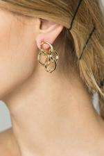 OwnTheLooks Gold-Toned Quad Round-Twined Earrings (580B)
