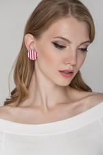 OwnTheLooks Red & White Striped Oversized Button Stud Earrings (851A)