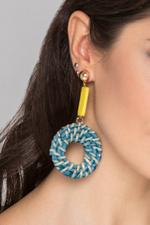 OwnTheLooks Yellow and Green Twirl Basket Earrings