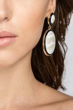 OwnTheLooks White & Black Circular Drop Earrings (326A)