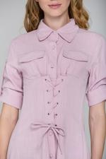 OwnTheLooks Pink Army Corset Shirt Dress (877A)