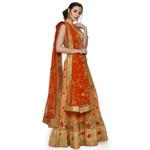 Pankhudii Beige and Orange Heavy Work Semistitched Lehenga Set  (RHYTHM21)