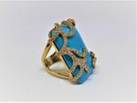 Amishi London Turquoise Blue Gold Plated Ring (SOH029R)