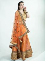 Pankhudii Orange & Blue Embroidered Semi-Stitched Lehenga Set (1154)