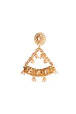Wahe Guru Gold Plated & White Pearl Embellished Drop Earrings (T00977)