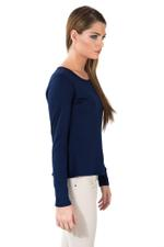 Miella Navy Blue Basic Solid Knit Top - Navy (TP7601-NVY)